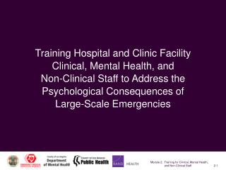 Training Hospital and Clinic Facility Clinical, Mental Health, and Non-Clinical Staff to Address the Psychological Conse