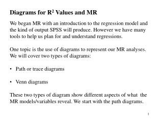 Diagrams for R 2  Values and MR