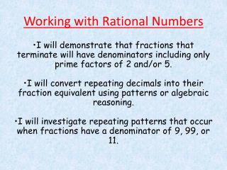 Working with Rational Numbers