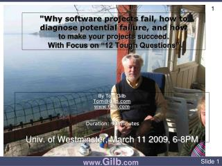 """Why software projects fail, how to diagnose potential failure, and how to make your projects succeed. With Focus o"