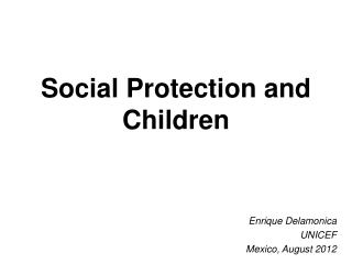 Social Protection and Children