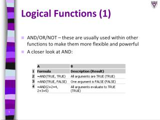 Logical Functions (1)