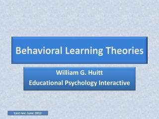 William G. Huitt Educational Psychology Interactive