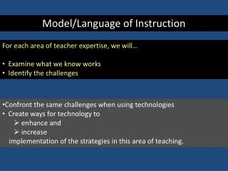 Model/Language of Instruction