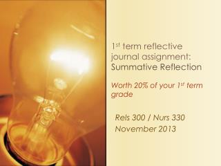 1 st  term reflective journal assignment:  Summative Reflection Worth 20% of your 1 st  term grade