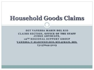 Household Goods Claims