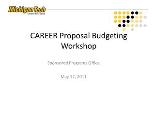 CAREER Proposal Budgeting Workshop