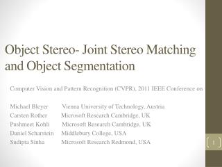 Object  Stereo-  Joint Stereo Matching and Object Segmentation