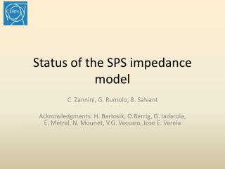 Status of the SPS impedance model