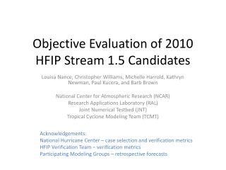 Objective Evaluation of 2010 HFIP Stream 1.5 Candidates