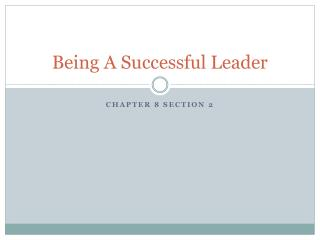 Being A Successful Leader