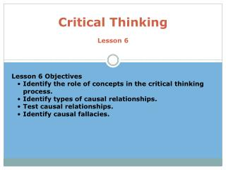 Critical Thinking Lesson 6