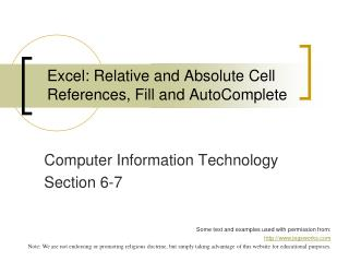 Excel: Relative and Absolute Cell References, Fill and AutoComplete