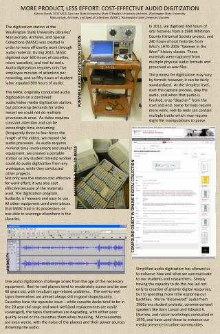 MORE PRODUCT, LESS EFFORT: COST-EFFECTIVE AUDIO DIGITIZATION