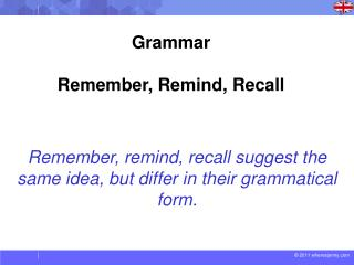 Remember, remind, recall suggest the same idea, but differ in their grammatical form.
