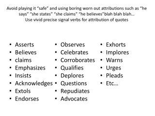 Asserts Believes claims Emphasizes Insists Acknowledges Extols Endorses Observes Celebrates