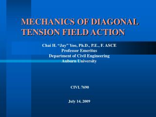 MECHANICS OF DIAGONAL TENSION FIELD ACTION