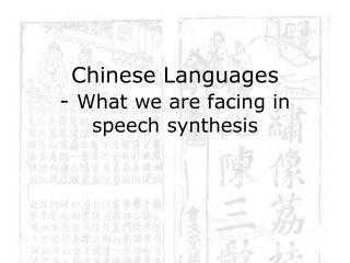 Chinese Languages -  What we are facing in speech synthesis