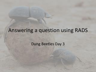 Answering a question using RADS