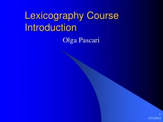 Lexicography Course Introduction