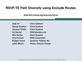 RSVP-TE Path Diversity  using Exclude  Routes draft-ietf-ccamp-lsp-diversity- 03.txt