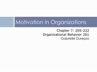 Motivation in Organizations