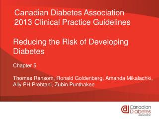 Reducing the Risk of Developing Diabetes