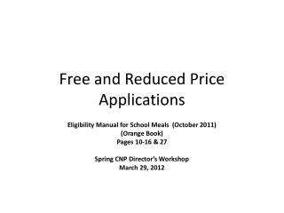 Free and Reduced Price Applications