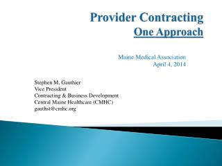 Provider Contracting One Approach