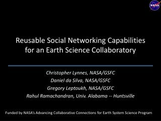 Reusable Social Networking Capabilities for an Earth Science Collaboratory