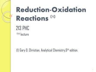 Reduction-Oxidation  Reactions  (1)