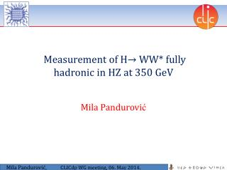 Measurement of  H → WW*  fully hadronic in HZ  at  350  GeV