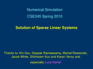 Solution of Sparse Linear Systems