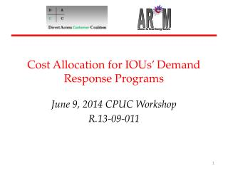 Cost Allocation for IOUs' Demand Response Programs