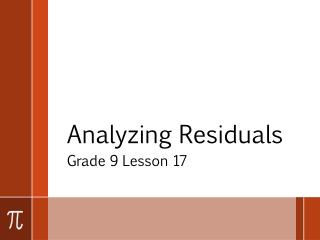 Analyzing Residuals