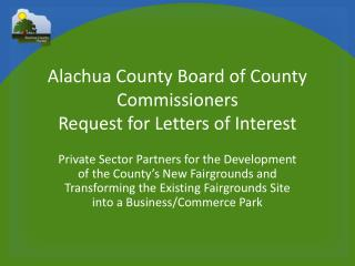 Alachua County Board of County Commissioners Request  for Letters of Interest