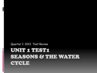 Unit 1 Test1 Seasons & the water Cycle
