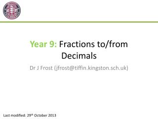 Year 9:  Fractions to/from Decimals