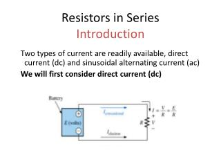 Resistors in Series Introduction