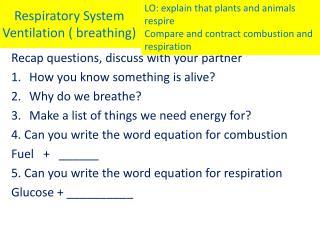 Respiratory System Ventilation ( breathing)