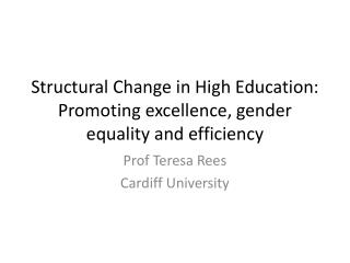 Structural Change in High Education:  Promoting excellence, gender equality and efficiency