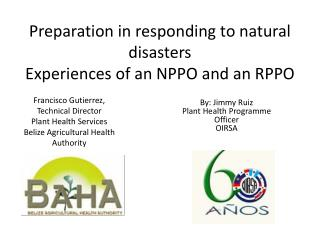 Preparation in responding to natural disasters Experiences  of  an NPPO  and an RPPO
