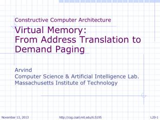 Constructive Computer Architecture Virtual Memory: From Address Translation to Demand Paging