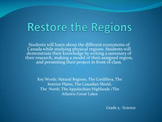 Restore the Regions