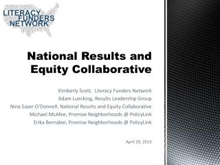 National Results and  Equity Collaborative