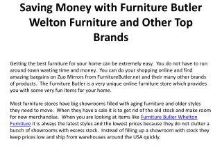 Saving Money with Furniture Butler Welton Furniture and Othe