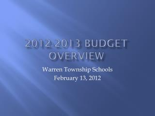 2012-2013 Budget Overview