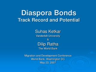 Diaspora Bonds Track Record and Potential