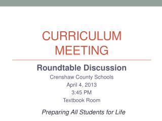 Curriculum Meeting