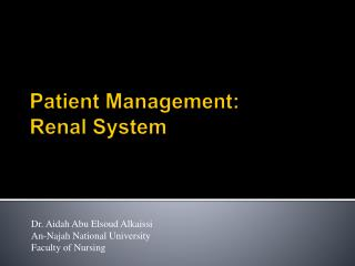 Patient Management: Renal System